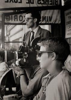 Jean Seberg & Jean Luc Godard on the set of A bout de souffle (1960).