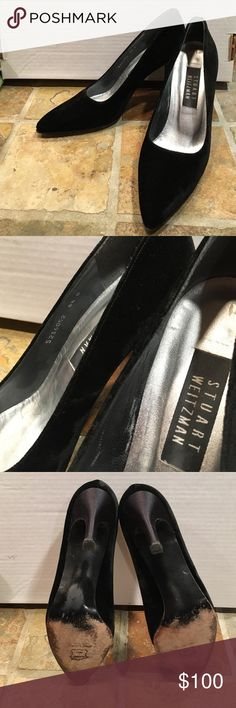 Stewart Weitzman black velvet stiletto Beautiful shoes, upper in nearly perfect condition only worn a few times, sole wear as seen in photo. Size is 8.5 B. Heel is 3.5 inches. True to size. Leather sole, velvet upper, satin heel and leather/manmade interior. Stewart Weitzman Shoes Heels
