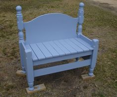 bench made from  twin head and foot boards. husband made this for me. he cut foot board in half for the sides and uses scrap lumber for the seat. i aded the round finials, and painted it coastal blue. it sits on my front porch.