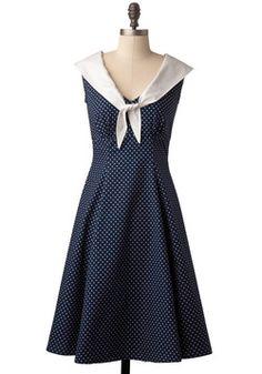 Stylized sailor wedding.  Navy wedding.  Seaside wedding.  Alternative wedding dress.  Engagement picture dress.  Cute Clipper Dress, #ModCloth