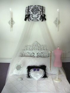 Swag Damask Cornice Teester Bed Crib Crown by SoZoeyBoutique