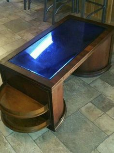 Art deco speakeasy bar cabinet coffee table. The top is cobalt blue glass which is original. RARE ANTIQUE SPEAKEASY BAR CABINET COFFEE TABLE $500 or best offer, Langhorne PA.