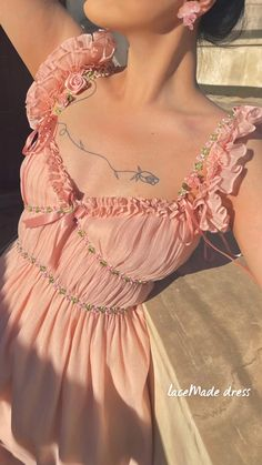 Pretty Outfits, Pretty Dresses, Beautiful Dresses, Cool Outfits, Pink Dresses, Moda Aesthetic, Aesthetic Clothes, Looks Style, Looks Cool