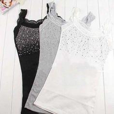 cb739e8c4b1 Women Rhinestone Sleeveless Lace Stunning Vest Tank Top T-shirt Shirt Vest