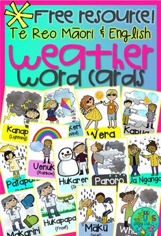 My beautiful Mum works at a special needs school, and recently needed a set of weather cards in Te Reo Maori and English to accompany a we. Free Teaching Resources, School Resources, Preschool Activities, Teaching Ideas, Weather Song, Weather Cards, Maori Words, Classroom Labels, Classroom Ideas
