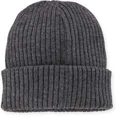 Moncler Ribbed Wool Beanie Hat ($130) ❤ liked on Polyvore featuring men's fashion, men's accessories, men's hats, hats, beanies, accessories, accessories - hats, fillers, grey and men's accessories hats