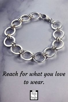 """Handmade double linked bracelet with lobster clasp. These link chain bracelets fall gracefully around the wrist and hand in sterling silver. SIZE: Lengths: 6 1/4"""", 6 3/4"""", 7 1/4"""", 7 3/4"""", 8 1/4"""", 8 3/4"""" and Width is 1/2"""" Chain Bracelets, Link Bracelets, Etsy Christmas, Jewelry Accessories, Women Jewelry, Matching Necklaces, Lobster Clasp, Dangle Earrings"""