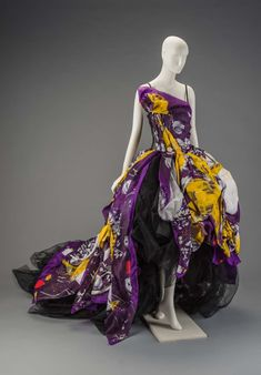 One-shouldered purple silk ballgown with hand-painted yellow, purple and white paint splatters inspired by the artwork of Julian Schnabel. Deconstructed look features … Custom Wedding Dress, Wedding Dresses, 2000s Fashion, Violet, Costume Design, Ball Gowns, Tulle, Costumes, Silk