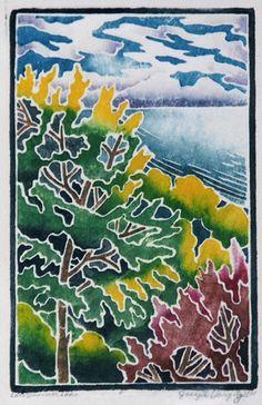 white line woodblock print (Contemporary Printmaking, Landscape)