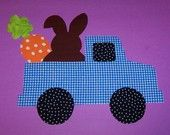 Fabric Applique TEMPLATE ONLY Truck With Bunny Carrot And Egg....New