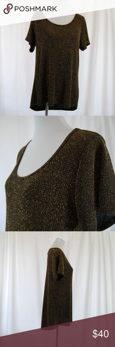 """🆕 Lularoe Black & Gold Classic T (Elegant Clctn) Lularoe 'Elegant Collection' Classic T style (see last pic for fit guidelines)  This is a hard to find unicorn black Classic T with gold metallic thread.  Excellent condition with little to no signs of wear (no pilling, holes, etc). There a couple pulls in the thread it seems, but that is partly just how the texture is. Washed once per LLR instructions.  Approximate measurements (taken flat): Bust = 20"""" Length = 28-31.5"""" (high-low style)…"""