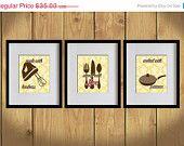 ON SALE Kitchen Art Print - Yellow Damask Prints, Dining Utensils, Mixer - Set of 3 - 8X10 - Brown, Pink, Saucepan, Values Print - No. KB003
