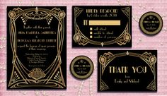 The Great Gatsby Inspired Wedding Invitation Suite by StudioDMD, $25.00