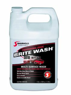 Shurhold YBP-0302 Brite Wash - 1 Gallon Cleans fiberglass, clear coat, metal, rubber and painted surfaces. Cleans dirt, grease, salt and more. No dulling your finish or stripping your wax or polish. Resists water spots, will not strip wax or polish. Concentrated and environmentally smart.