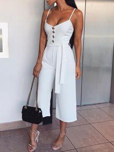 Button Date Night Ankle Length Wide Legs Slim Womens Jumpsuit Lace Jumpsuit, Short Jumpsuit, Jumpsuit Shorts, Summer Outfits, Casual Outfits, Fashion Outfits, Fashion 2018, Ladies Fashion, Womens Fashion
