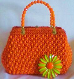 Vintage Beaded Italian Handbag Bright Orange by normajeanscloset, $24.99