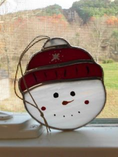 Stained glass snowman face by ShinyStuffGlass on Etsy