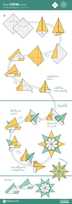 #papercraft #origami #party decor Star Corona Grande Diagram. Easy to follow origami star directions.