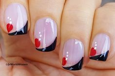 #Black #frenchmanicure with #red #flower #nailart French Manicure Nails, French Manicure Designs, French Nails, Nail Designs, Easy Nail Art, Nail Tutorials, Simple Nails, Easy Diy, Nailart