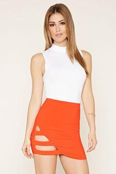 PEDIDOS SOLO POR #ENCARGO Código: F-26 Caged-Cutout Mini Skirt Color: Tangerine Talla: S-M-L Precio: ₡17.500 ($32,29)  Whatsapp ☎8963-3317, escribir al inbox o maya.boutique@hotmail.com  Envíos a todo el país. #MayaBoutiqueCR ❤