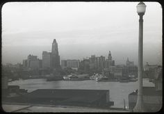 Baltimore Harbor in 1940 taken from Federal Hill.