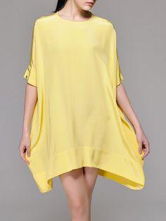 Casual Asymmetric Half Sleeve Silk Mini Dress