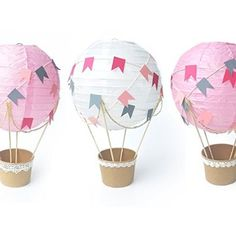 Whimsical Hot Air Balloon decoration DIY Kit - Nursery decor - Baby Shower - Travel theme nursery - Baby room decoration - Set of 3 (Pink White Pink)