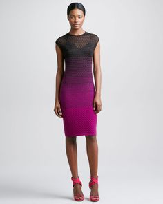 Ombre Knit Capsleeve Sheath Dress Brownpink - Lyst