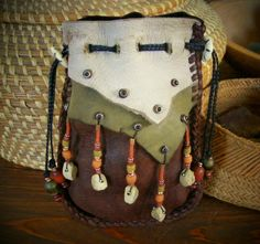 STRENGTH deerskin leather Medicine Bag / Spirit Pouch with ELK