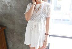 Korean stylenanda white babydoll dress