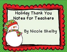 Freebie Christmas Thank You Cards For Teachers  December