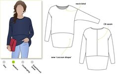 This is a great oversized knit top with the new cocoon shape.Sunny Top Sewing Pattern
