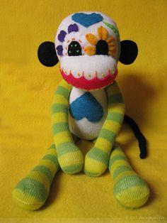 Sock Monkey : Dia De Los Muertos - Sugar Skull Stuffed Monkey Doll - Yellow and Green LimbsEtsy @ REBELalaMODE -