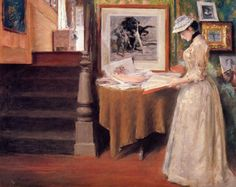 Interior, Young Woman at a Table by William Merritt Chase #art