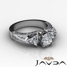 Round Cut Three Stone Diamond Trillion Engagement Ring EGL F VS2 Platinum 2 Ct | eBay