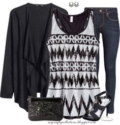 Women's Outfit: A Little Bit of Shimmer - featuring items from Target, H&M, Maurices, Amazon, and Boscov's.