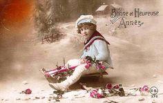 https://flic.kr/p/4artGx | Little Boy on Sled  ~ Vintage Postcard