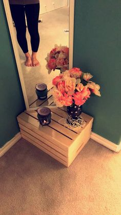 *easy cheap home decor*  -Full length mirror -Wooden crate -Vase w/ flowers -Candle