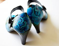 Hand painted heels  Blue Roses Customize Your Shoes  by kezbirdie, £95.00  I NEED. THESE SHOES.