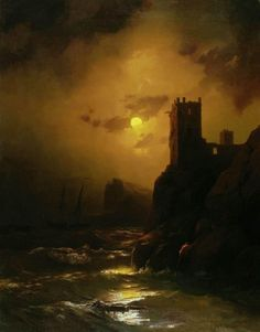 Tower. Shipwreck - Oil on canvas, 1847 | Ivan Aivazovsky