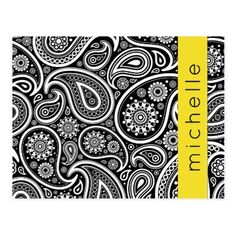Your Name - Oriental Paisley Dots - Black Yellow Postcard - black and white gifts unique special b&w style