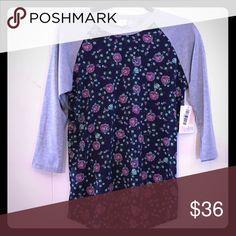 Small LuLaRoe Randy Tee Navy with pink floral and grey sleeves NWT small LuLaRoe Tops Tees - Long Sleeve