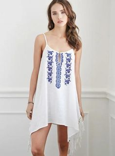AdoreWe  Oasap -  oasap Spaghetti Strap Scoop Neck Floral Embroidery Dress  with Tassel a3471b11b0e7