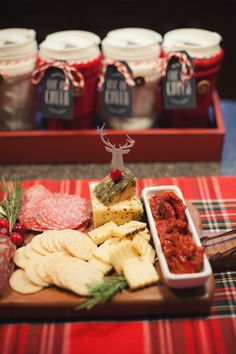 Cheese platter from a Cozy Tree Trimming Holiday Party on Kara's Party Ideas | KarasPartyIdeas.com (58)