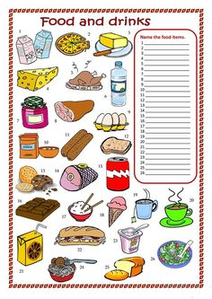 Food and drinks worksheet. - English ESL Worksheets for distance learning and physical classrooms - Food and drinks interests Kids English, English Food, English Writing, English Lessons, Teaching English, Learn English, English Test, English Language, Food Vocabulary