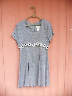1990s Black and White Checked Daisy Grunge Dress by MagicUnicornVintage, $20.00