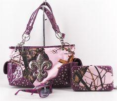 Purple western mossy oak purses | ... FLEUR DE LIS HAND GUN WESTERN PURSE FLAT WALLET SUNGLASSES PURPLE