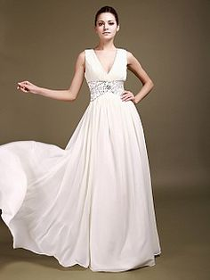 Sleeveless V Neck Chiffon A Line Bridal Gown with Sequined Waist 0113930'