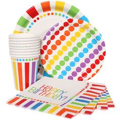 Rainbow themed cups, plates and napkins