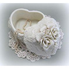 Shabby Chic Box Trinket Box Jewelry Trinket Box Flower Box Heart Box... ($28) ❤ liked on Polyvore featuring home, home decor, heart trinket box, ceramic trinket box, heart home decor, rose home decor and floral home decor